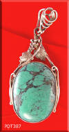 Turquoise and sterling silver jewelry pendant