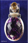 Faceted Amethyst and Sterling Silver Pendant with Citrine Accent